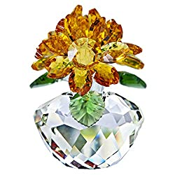 Yellow Crystal Sunflower Figurine Ornament Paperweight