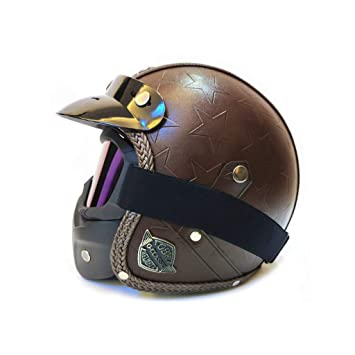 Color : C, Size : M Helmets Motorcycle Helmet Retro Autocycle Helmet Men Women Allround Cycling Safety Cap Pedal Motorcycle Electric Vehicle with Mask