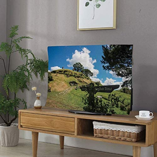 飾りカバー テレビ 32Vのテレビに適用 インテリア テレビアクセサリー 可愛い ホビット マタマタニュージーランドのオーバーヒルホビットビレッジファンタジーシーンハウスイメージプリント グリーンブルー