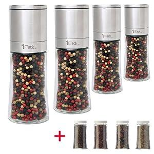 Edelstahl Pfeffermühle Salzmühle Gewürzmühle - 150ml - unbefüllt - mit...
