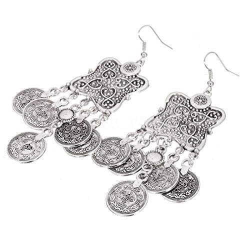 (EatingBiting(R) Silver Turkish Carving Coin Floral Boho Gypsy Beach Ethnic Tribal Drop Earring Tribal Boho Coin Tassels Carving Flower Coin Charms Jewelry Making Festival Turkish Gypsy Coin Earrings)