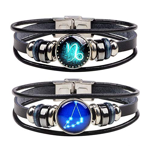 (Chaimi Punk Retro Alloy 12 Constellation Leather Bracelet Handmade Braided Zodiac Bangle for Men 2 Piece Set(Capricorn))