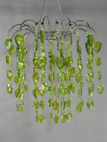 Green Chandelier Retro Beaded Hanging Lamp Light HLLWF2-GRN