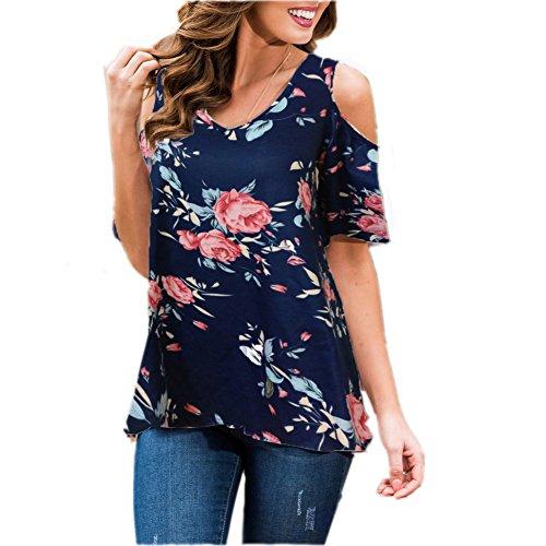 Pattern Shoulder Cut Out - Women's Floral Print Cut Out Shoulder Short Sleeve T Shirt Blouse (XL, Navy blue)