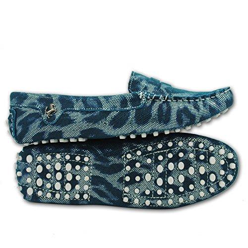 Minitoo comfortt Casual pour femme en cuir véritable à Chaussures bateau pour extérieur Multicolore - Vert - Motif serpent/vert, 38 2/3