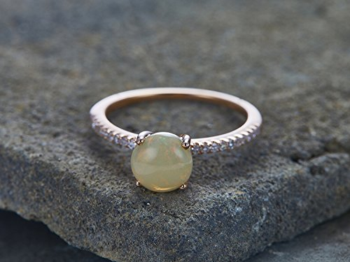 488a48dec8fb8 Amazon.com: Natural Opal Ring Solitaire Engagement Ring 7mm Round ...
