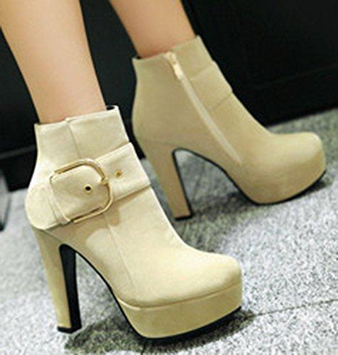 IDIFU Womens Dressy Side Zipper Buckle High Chunky Heel Platform Ankle Booties Beige XKECS