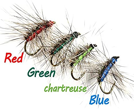 Amazon.com : Jammas 10PCS #12 Crackleback Gnat Fly Trout Fishing Dry Flies Peacock Herl Back Red Green Chartreuse Blue Color - (Color: Green 10PCS) : Garden & Outdoor