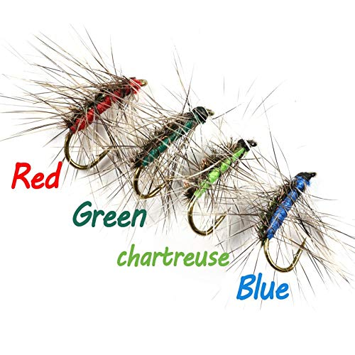 Jammas 10PCS #12 Crackleback Gnat Fly Trout Fishing Dry Flies Peacock Herl Back Red Green Chartreuse Blue Color - (Color: Green ()