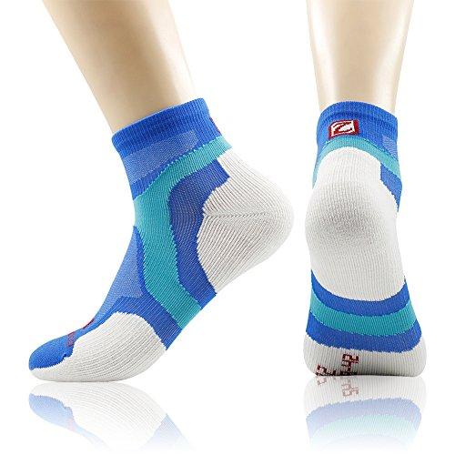 Running Socks, ZEALWOOD Merino Wool Low Cut Cycling Socks for Men and Women,Women Christmas Gifts Christmas Socks Unisex Breathable Sport Socks-Blue/White,Small, 3 Pairs by ZEALWOOD (Image #9)