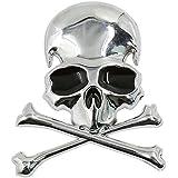 SODIAL Metal 3d Wicked Skull Bone Shape motorcycle car emblem badge sticker