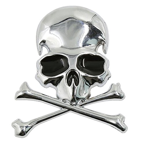 SODIAL Metal 3d Wicked Skull Bone Shape motorcycle car emblem badge sticker