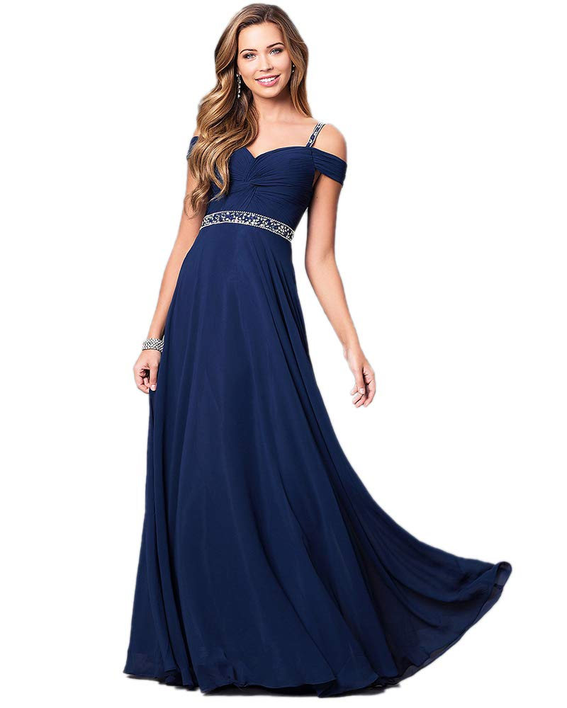 Aofur New Lace Long Chiffon Formal Evening Bridesmaid Dresses Maxi Party  Ball Prom Gown Dress Plus Size (Medium, Navy Blue)