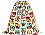 iSuperb Canvas Drawstring Backpack bag Gym Sack bag Stylish Lightweight Cute for Excursion Outdoor (Owl) For Sale