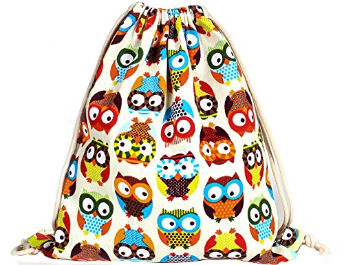 iSuperb Canvas Drawstring Backpack bag Gym Sack bag Stylish Lightweight Cute for Excursion Outdoor (Owl)