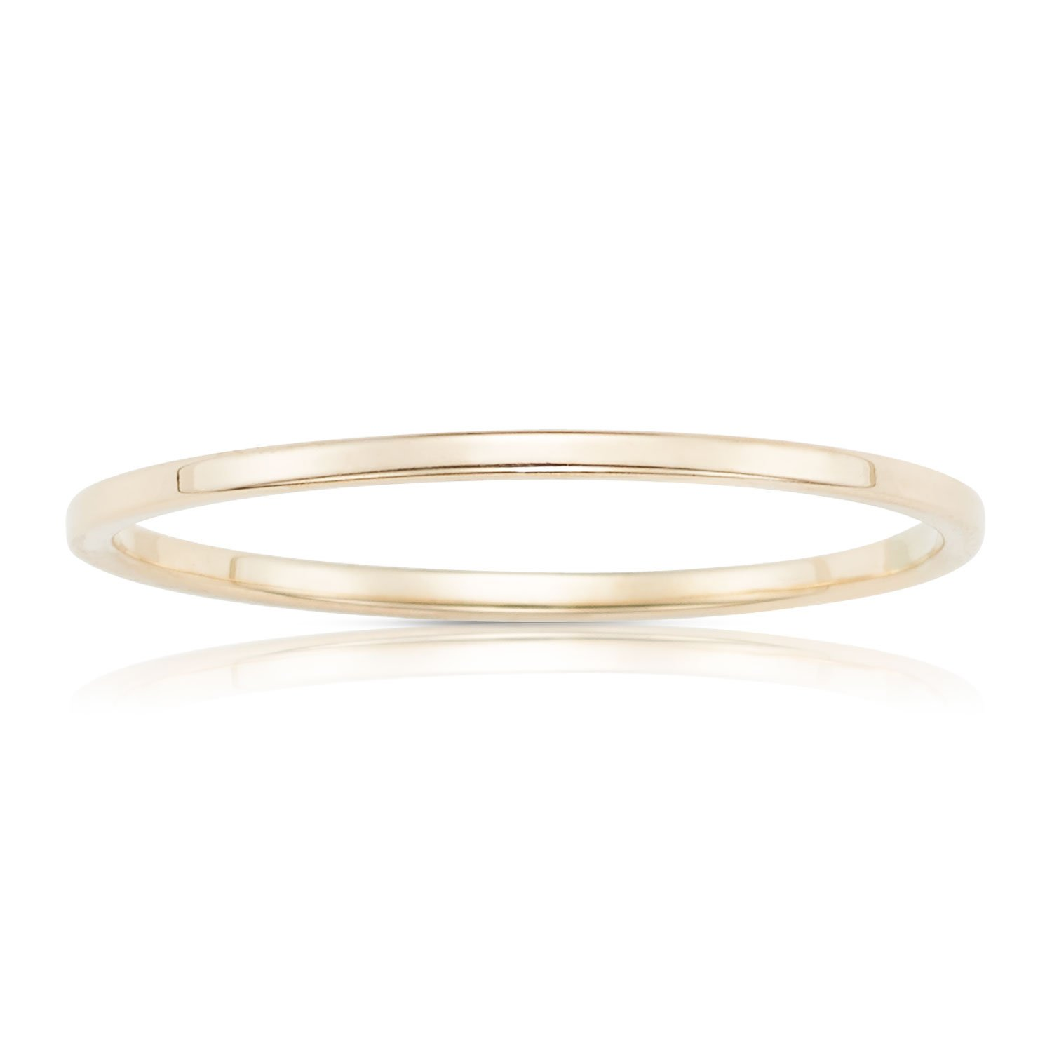 Jewel Connection Real 14K Yellow Gold Petite Stackable Ring with Smooth Square Finish for Women and Girls (6) by Jewel Connection (Image #1)