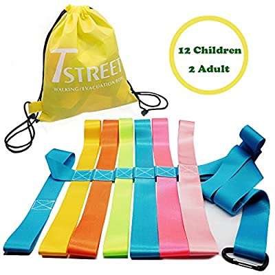 Safety Walking Rope with Colorful Handles for up to 6 Children,10 Children and 12 Children-Perfect for Daycare Schools and Teachers.-by T Street