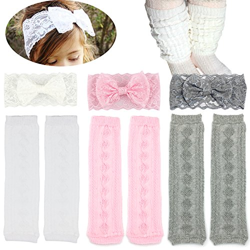 Elesa Miracle 3 Pairs Knitted Baby & Toddler Cozy Soft Argyle Leg Warmers and Baby Lace Bow Headband Value Set]()