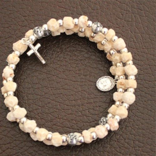 Wired Rosary from MEDJUGORJE - Bracelet from Apparation Hill Stones - Shipped. (54 Day Rosary Novena To Our Lady)