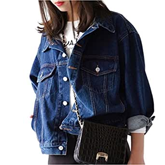 Classic Trucker Jacket Losse Denim Coat Sporty Casual Outerwear Long Sleeve Blue Jeans for Juniors XS