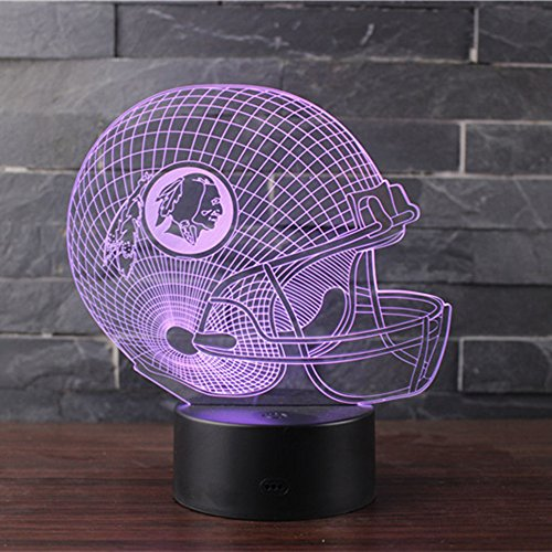- 3D Illusion Night Light LED Desk Table Lamp 7 Color Touch Lamp Art Sculpture Lights Birthday Gift for Kids Bedroom Decor (Indian Rugby hat)