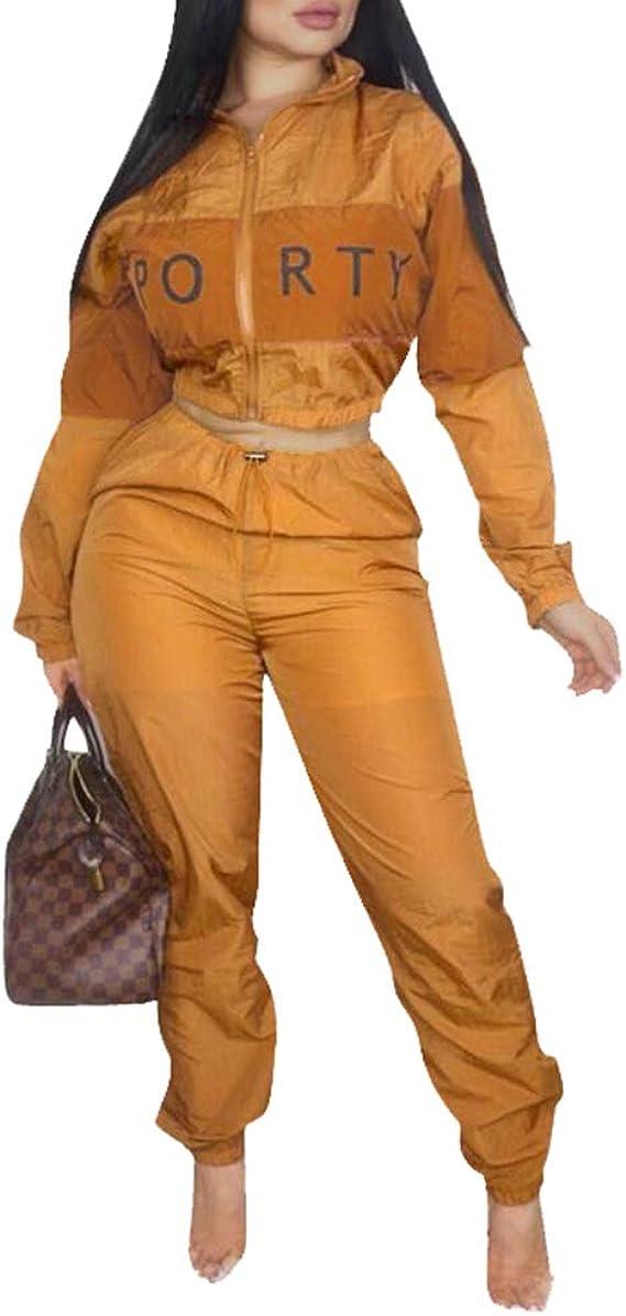 Mujer 2 Piezas Chándal, Moda Color Empalmadas Cremallera ...