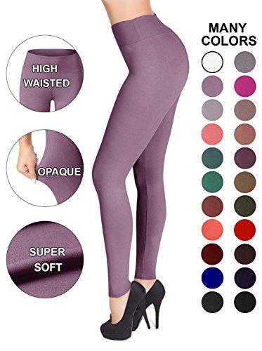 Satina High Waisted Leggings - 22 Colors - Super Soft Full Length Opaque Slim (Plus Size, Lavender)