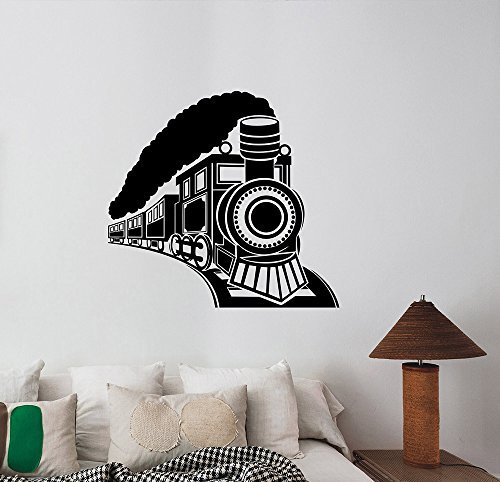 Railroad Real Train Photo (Vintage Steam Train Wall Decal Railroad Retro Locomotive Vinyl Sticker Travel Art Transportation Decorations for Home Kids Living Room Bedroom Decor lt2)