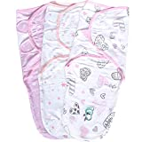 Great  Baby Swaddle Wrap Blanket for Newborn & Infant, 0-3 Month Swaddlers Sleep Sack with Adjustable Wings, 3 Pack Breathable Wrap Sack for Girls (Blush)