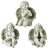 Northlight Set of 3 Sitting Cherub Angel Decorative Outdoor Garden Statues 11''