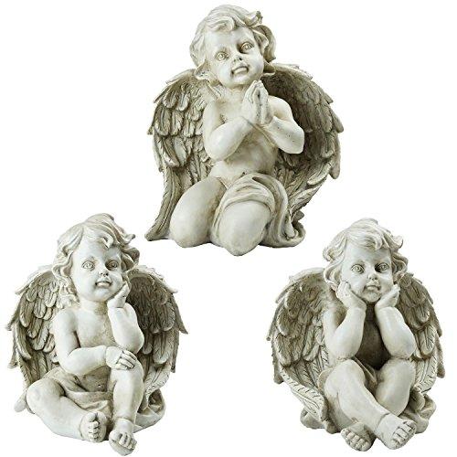 Northlight Set of 3 Sitting Cherub Angel Decorative Outdoor Garden Statues 11'' by Northlight