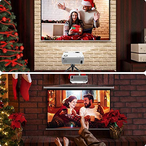 Proyector QKK, Mini Proyector con Estuche Portátil, 2500 Lux Video Proyector 1080P Full HD, Compatible con PC Smartphone Tablet HDMI...
