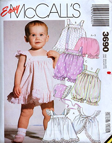 Easy Mccalls 3690 Sewing Pattern for Bubble Romper, Pinafore Style Ruffled Dress, Panties & Bonnet for Nb Small Medium Infants 5-26 Pounds ()