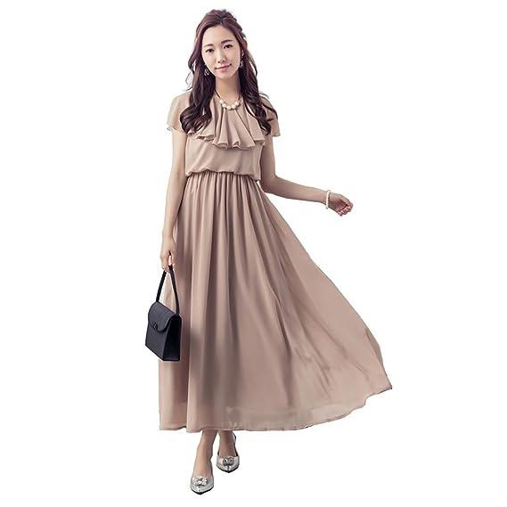 dc38e0af81831 Kayaa シフォン ロングドレス フォーマル パーティードレス 結婚式 ワンピース ボヘミアン マキシ 丈 大きいサイズ 袖