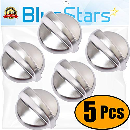 (Ultra Durable WB03T10284 Range Infinite METAL Knob Replacement Part Stainless Steel Finish by Blue Stars - Exact Fit For GE Ranges - Enhanced Durability with Metal Core - PACK OF 5)