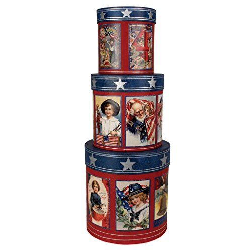 Bethany Lowe USA Americana 4th of July Patriotic Nesting Boxes, Set of 3, 6