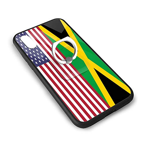 Flag of American Jamaica iPhone X/iPhone Xs Tempered Glass Case Soft Silicone TPU Frame Back Cover with Square Ring Stand Grip Holder ()