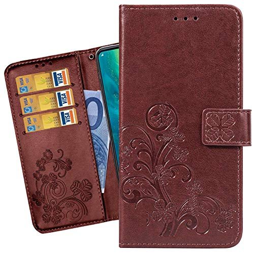Ougger Flip Case for Kyocera Qua Phone QZ KYV44 Case, Lucky Leaf Print Premium PU Leather Wallet Cover Card Slot Magnetic Bumper Pouch Holster for Qua Phone QZ KYV44 with Stand-View Function (Brown) ()