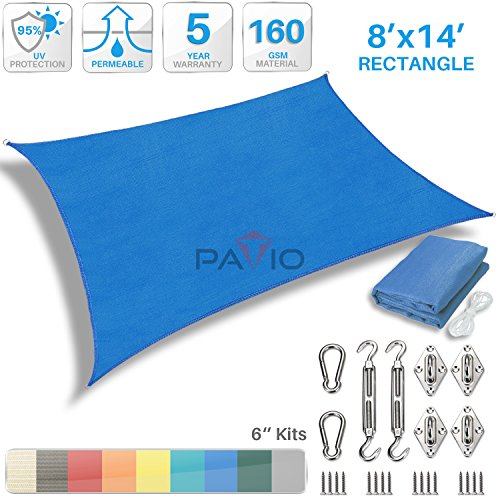 Patio Paradise 8' x 14' Sun Shade Sail with 6 inch Hardwa...