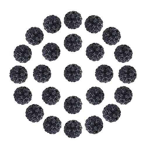 Pandahall 100 Pcs 10mm Black Shamballa Pave Disco Ball Clay Beads, Polymer Clay Rhinestone Beads Round Charms Jewelry Makings