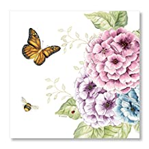 "C.R. Gibson 20 Count, 3-Ply, Paper Lunch Napkin, By Lenox Measures 6.5"" x 6.5"" - Butterfly Meadow"