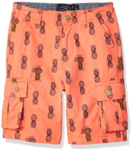 Lucky Brand Big Boys' Cargo Shorts, Pineapple Printed Living Coral 14