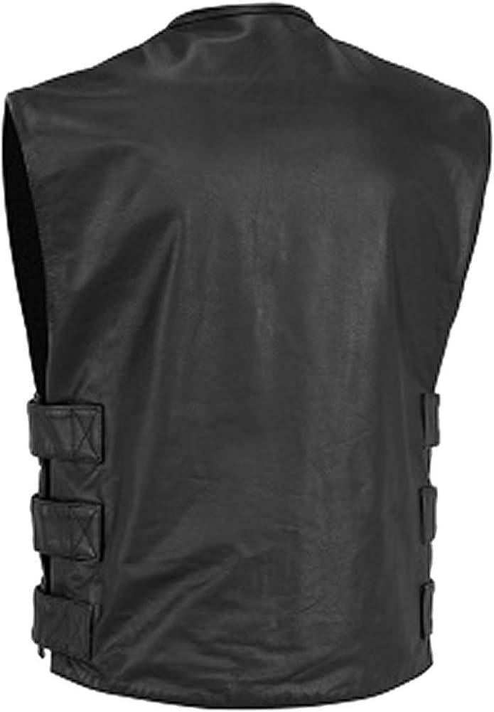 Sleekhides Mens Fashion SlimFit Leather Vest All Sizes Xs-5Xl