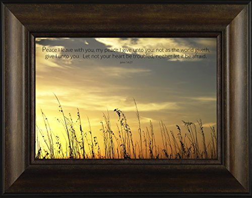 Giving Peace By Todd Thunstedt 20x26 John 14:27 Sunrise Sunset Ship Fort Myers Beach Key West Coconut Tree Grass Sawgrass Religious Bible Verse Quote Saying Jesus Framed Art Print Wall - Sawgrass Sunrise