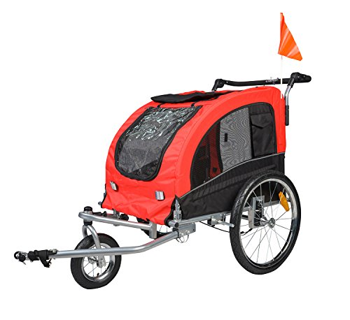 Enjoi Pet Bike Trailer Dog Cat Bicycle Carrier Stroller Jogger Shopping Cycling Wagon (Black & Red) from Enjoi