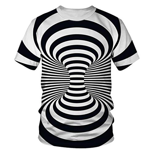 YKARITIANNA Unisex Men's 3D Printing Creative Round Neck Casual Short Shirts Top Blouse Black