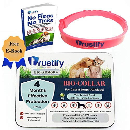 Vet Recommended Flea Tick Prevention Bio Collar 100% Natural Treatment Hypoallergenic, Adjustable & Waterproof for Cats and Dogs