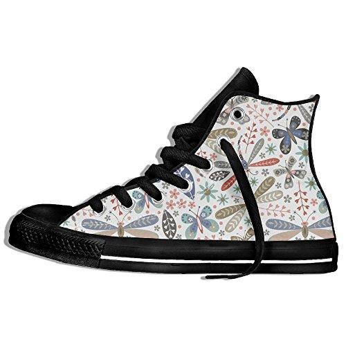 Classiche Sneakers Alte Scarpe Di Tela Libellule Anti-scivolo Casual Da Passeggio Per Uomo Donna Nero