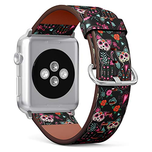 ((Sugar Skull Cat Pattern for Day of The Dead) Patterned Leather Wristband Strap for Apple Watch Series 4/3/2/1 gen,Replacement for iWatch 42mm / 44mm Bands)