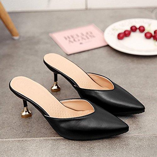 fankou Baotou la Mitad de Zapatillas de Verano Femenina Elegante, Alto y Fresco con la Punta Fina del,36, Negro Zapatos de Mujer